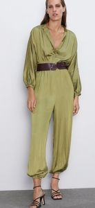 Zara Satin Effect Jumpsuit With Belt